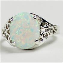 SR057, Created White Opal, 925 Sterling Silver Ladies Ring