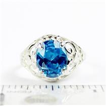 Swiss Blue CZ, 925 Sterling Silver Ring, SR004