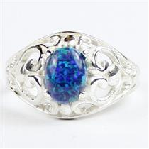 Created Blue Green Opal, 925 Sterling Silver Ladies Ring, SR111,