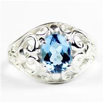 Swiss Blue Topaz, 925 Sterling Silver Ring, SR111