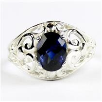 Created Blue Sapphire, 925 Sterling Silver Ladies Ring, SR111