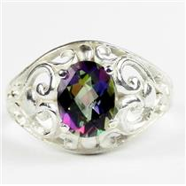 Mystic Fire Topaz, 925 Sterling Silver Ladies Ring, SR111
