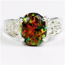 Created Black Opal, 925 Sterling Silver Ladies Ring, SR369