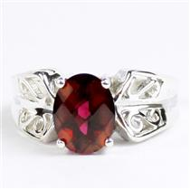 Crimson Fire Topaz, 925 Sterling Silver Ladies Ring, SR281