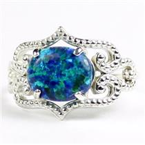 SR367, Created Blue Green Opal, 925 Sterling Silver Ladies Ring