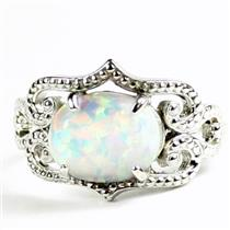 SR367, Created White Opal, 925 Sterling Silver Ladies Ring