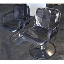 Lot Of Two Tispro Hydraulic Black Barber Salon Styling Chairs