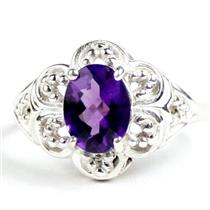 SR125, Amethyst, 925 Sterling Silver Ladies Ring