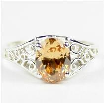 Champagne CZ, 925 Sterling Silver Ladies Ring, SR005