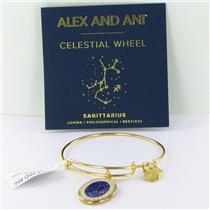 Alex and Ani Sagittarius Celestial Wheel Gold Bangle Bracelet A15EB66YG NWT Box