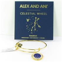 Alex and Ani Taurus Celestial Wheel Gold Bangle Bracelet A15EB68YG NWT Box