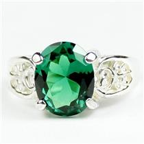Russian Nanocrystal Emerald, 925 Sterling Silver Ladies Ring, SR369