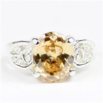 Champagne CZ, 925 Sterling Silver Ladies Ring, SR369