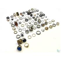 Large Lot Of 70+  Assorted Costume Rings-Gold & Silver Tone