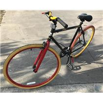 Thruster Fixie Hybrid Bicycle 19.5 Fixed Gear Bike Black w Color Wheels 68x24x38