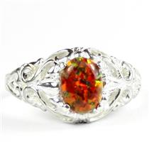 Created Red Brown Opal,925 Sterling Silver Ladies Ring, SR113
