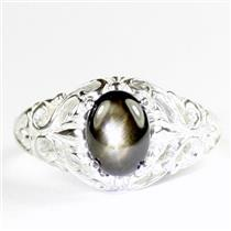 Black Star Sapphire, 925 Sterling Silver Ladies Ring, SR113