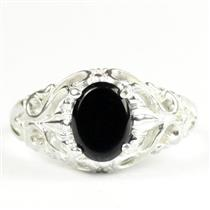 Black Onyx,  925 Sterling Silver Ladies Ring, SR113