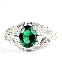 Russian Nanocrystal Emerald, 925 Sterling Silver Ladies Ring, SR113