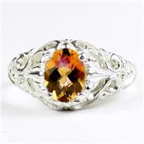 Twilight Fire Topaz, 925 Sterling Silver Ladies Ring, SR113