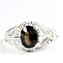 Smoky Quartz, 925 Sterling Silver Ladies Ring, SR113