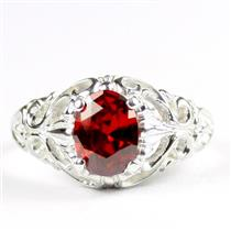 Garnet CZ, 925 Sterling Silver Ladies Ring, SR113