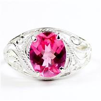 Created Pink Sapphire, 925 Sterling Silver Ladies Ring, SR083