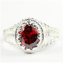 Garnet CZ,  925 Sterling Silver Ladies Ring, SR070