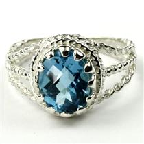 Swiss Blue Topaz, 925 Sterling Silver Ring, SR070