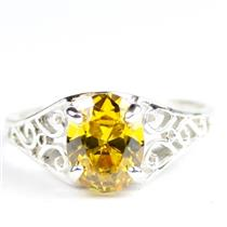 Golden Yellow CZ, 925 Sterling Silver Ladies Ring, SR005