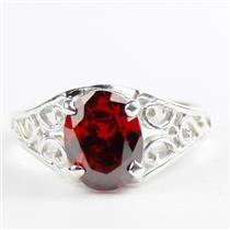 Garnet CZ, 925 Sterling Silver Ladies Ring, SR005
