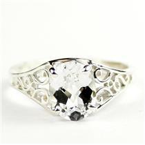 Silver Topaz, 925 Sterling Silver Ladies Ring, SR005