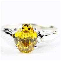 Golden Yellow CZ,925 Sterling Silver Ladies Ring, SR058