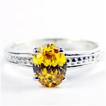 Golden Yellow CZ, 925 Sterling Silver Ladies Ring, SR371