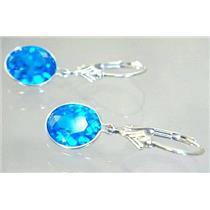Swiss Blue CZ, 925 Sterling Silver Earrings, SE101,