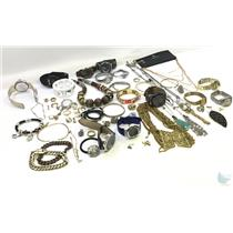 Lot of Misc Costume Jewelry Watches Necklaces Rings Earrings Bracelets Bangles