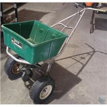 Lesco High Wheel 80 Lbs. Capacity Push Grass Seed Fertilizer Spreader - No Cover