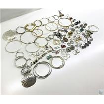 Lot Of 80+  Mixed Earrings, Singles and Pairs - Gold-Tone & Silver-Tone