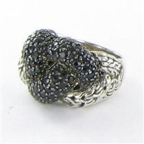 John Hardy Classic Chain Lava Large Braided Black Sapphire Ring Sz 7 New $995
