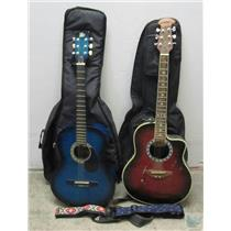 Lot of 2 Accoustic Guitars Midland Rogue with Cases