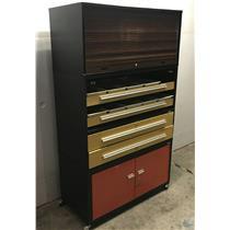 Luxor Jack Coffey 4 pc Cabinet Stack w Tambour Roll Drum Door 4 Drawers