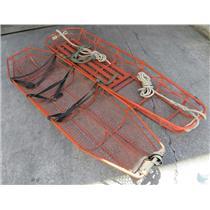 "Lot Of 2 Vintage Orange Wire Mesh Litter Rescue Basket / Stretcher 7' x 2' x 8"""