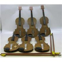 Lot of 6 Unbranded Student Violins & 4 Bows
