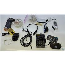 Lot of electronics and cables earphones chargers wireless and wired accessories