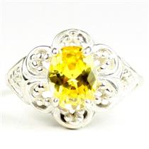 Golden Yellow CZ, 925 Sterling Silver Ladies Ring, SR125