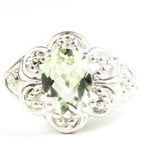 Green Amethyst (Prasiolite), 925 Sterling Silver Ladies Ring, SR125