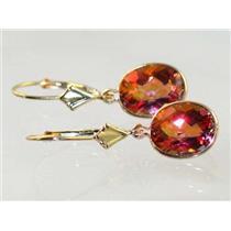 E101, Twilight Fire Topaz, 14k Gold Earrings