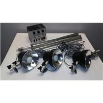 Novatron 300 Photograpic Lighting System With 3 Strobe Lights, 2 Stands and Case