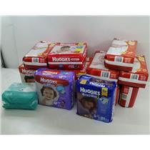 NEW Lot of 12 Packages of Huggies Diapers Sizes N, 4, 5, 6 and Pampers Wipes
