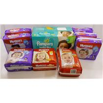 NEW Lot of 9 Packages of Huggies & Pampers Diapers Sizes 2, 3, 4, & 5
